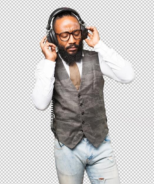 ヘッドフォンでクールな黒人男性 Premium Psd