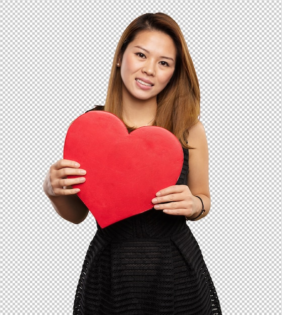 ハートの形を保持している中国の女性 Premium Psd