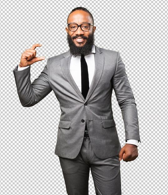 Бизнес черный человек показывает размеры Premium Psd