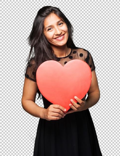 心臓の形を保持しているラテン女性 Premium Psd