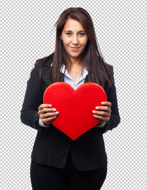 ハート形のクールなビジネス女性 Premium Psd