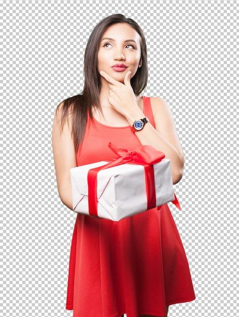 アジアの女性、贈り物をする Premium Psd