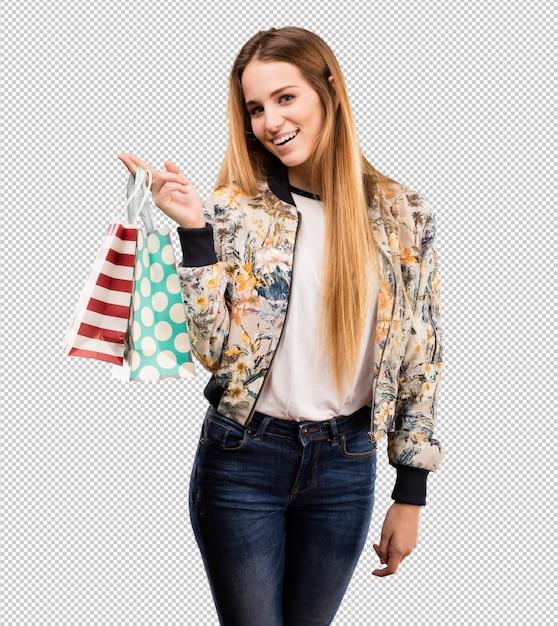若いブロンドの女性の買い物 Premium Psd