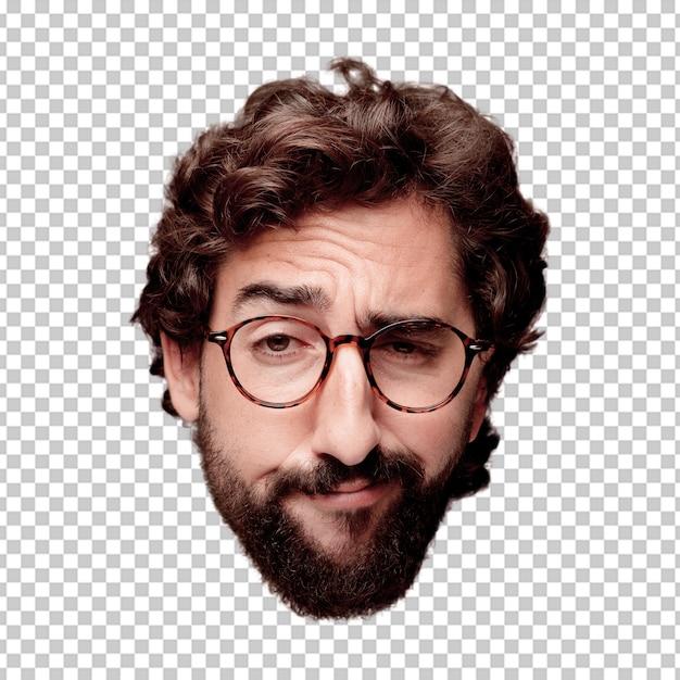 若い、狂った、ひげそりされた、男、カットアウト、頭、表現、ビューメガネのヒップスターの役割 Premium Psd