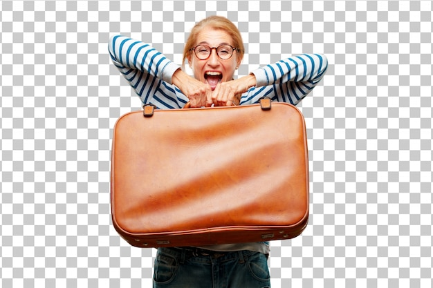 Старший красивая женщина с кожаным чехлом багажа Premium Psd