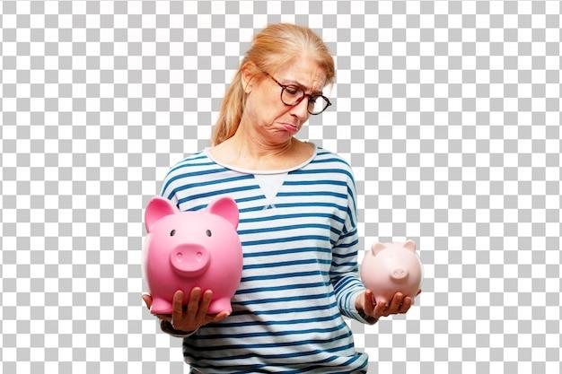 貯金とシニアの美しい女性 Premium Psd