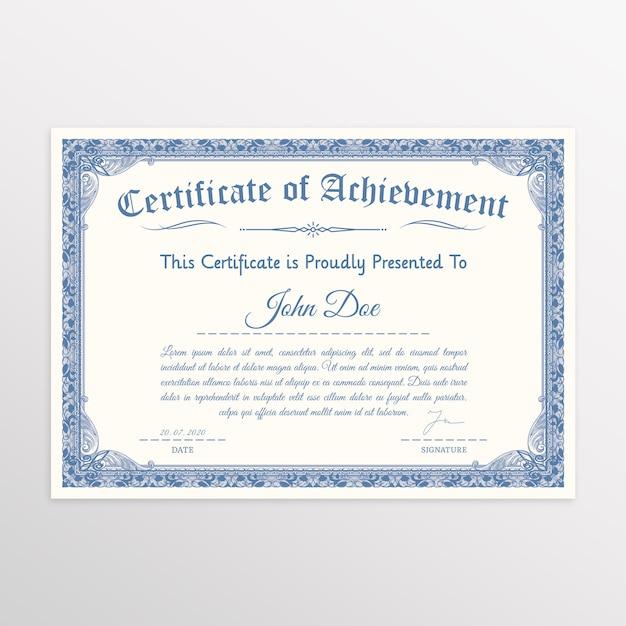 Элегантный сертификат с классической рамкой Premium Psd