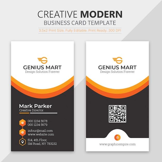 オレンジ形状の訪問カードテンプレート Premium Psd