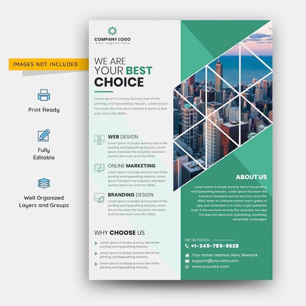 緑と白のビジネスチラシテンプレート Premium Psd