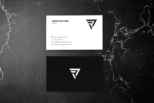 Темно-мраморный вертикальный макет визитки Premium Psd