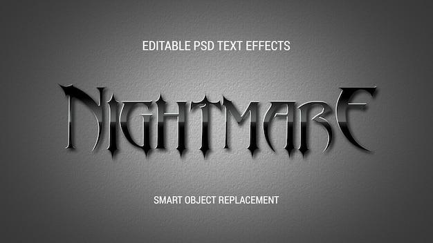 Глянцевый черный текстовый эффект Premium Psd