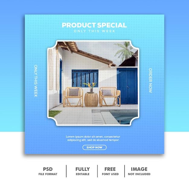 ソーシャルメディアバナーテンプレート、家具高級スペシャルブルー Premium Psd
