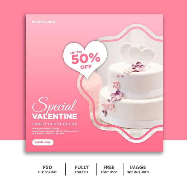 特別なバレンタインセールバナーテンプレート Premium Psd