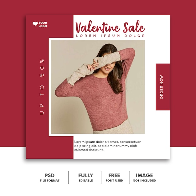 Специальная распродажа валентина для поста в социальных сетях Premium Psd