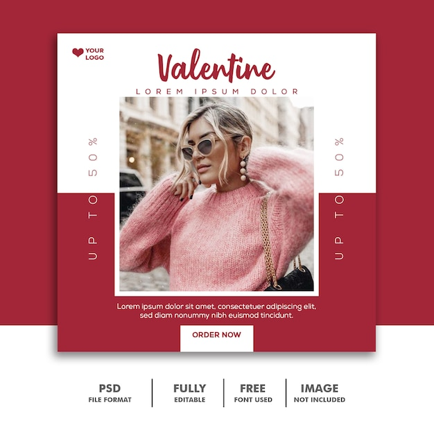ソーシャルメディアポストの特別なバレンタインセール Premium Psd