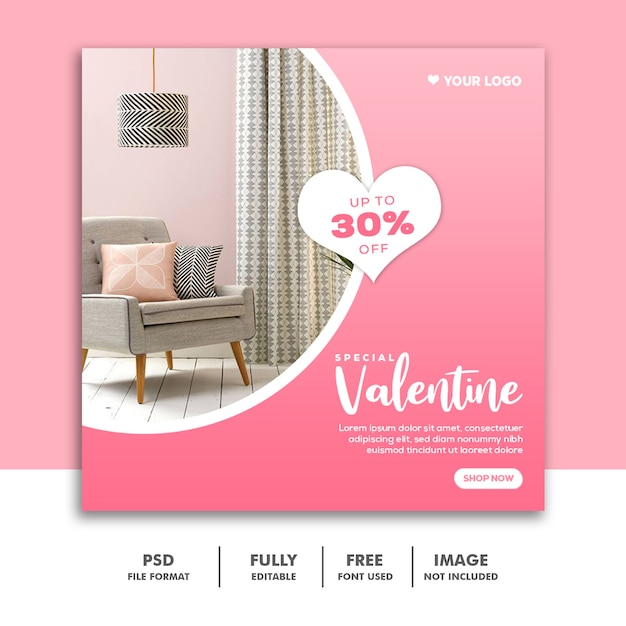 ソーシャルメディアポストの特別なバレンタイン家具販売 Premium Psd