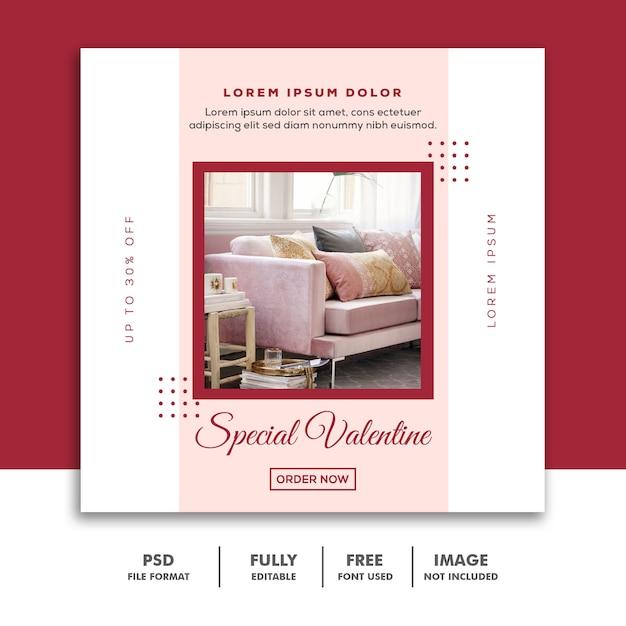ソーシャルメディア向けの特別なバレンタインポスト Premium Psd