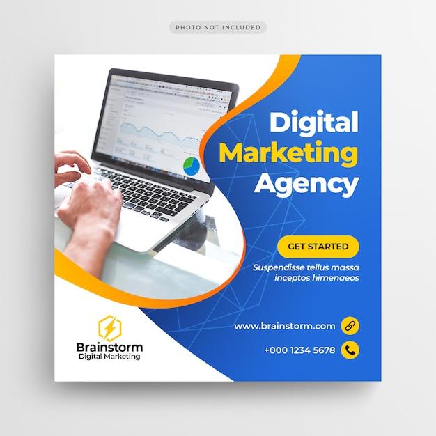 デジタルビジネスマーケティングソーシャルメディアバナーまたはスクエアチラシ Premium Psd