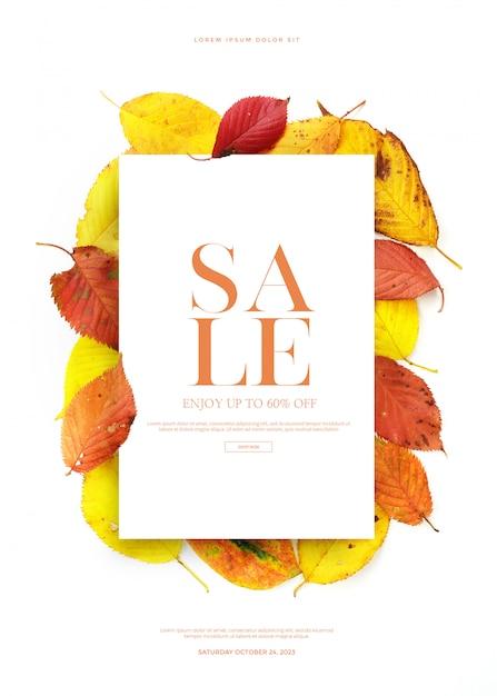 Осенняя распродажа баннер или открытку Premium Psd