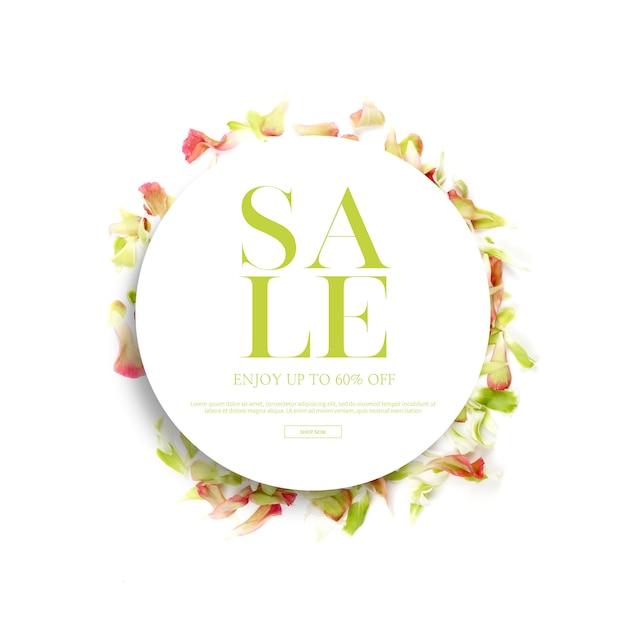 春シーズンのバナーとフレーム、美しい花、招待状の背景を持つテンプレート Premium Psd