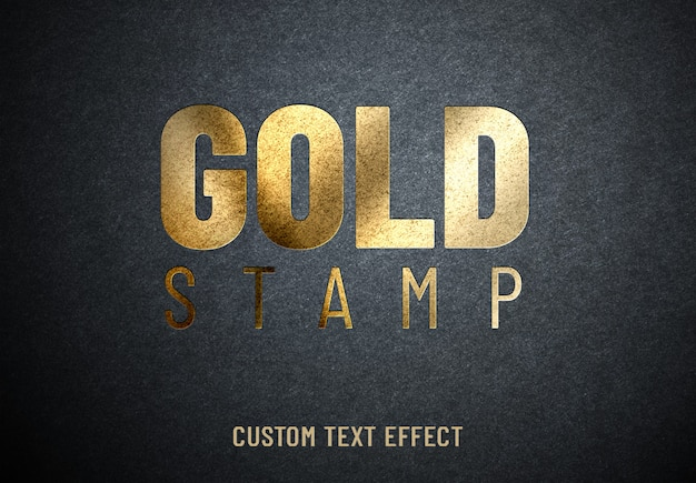 Золотой штамп с пользовательским текстовым эффектом Premium Psd