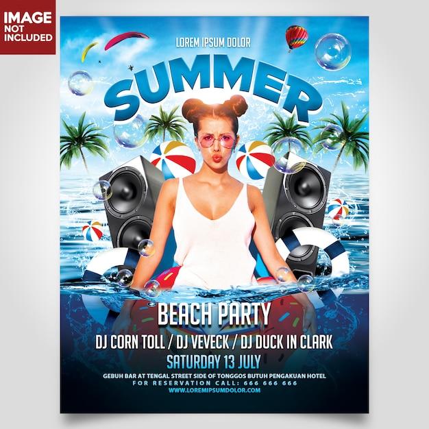 夏のビーチパーティーフライヤーテンプレート Premium Psd