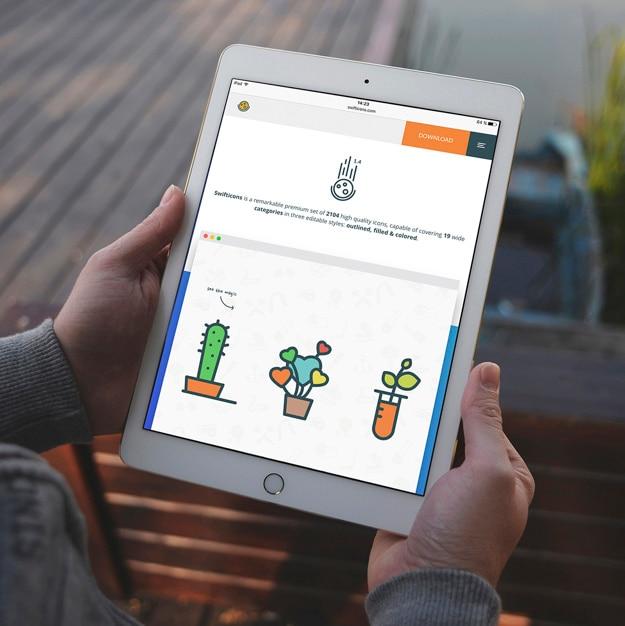 タブレットの画面は、デザインのモックアップ 無料 Psd