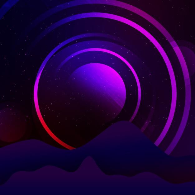紫の丸の背景のデザイン 無料 Psd