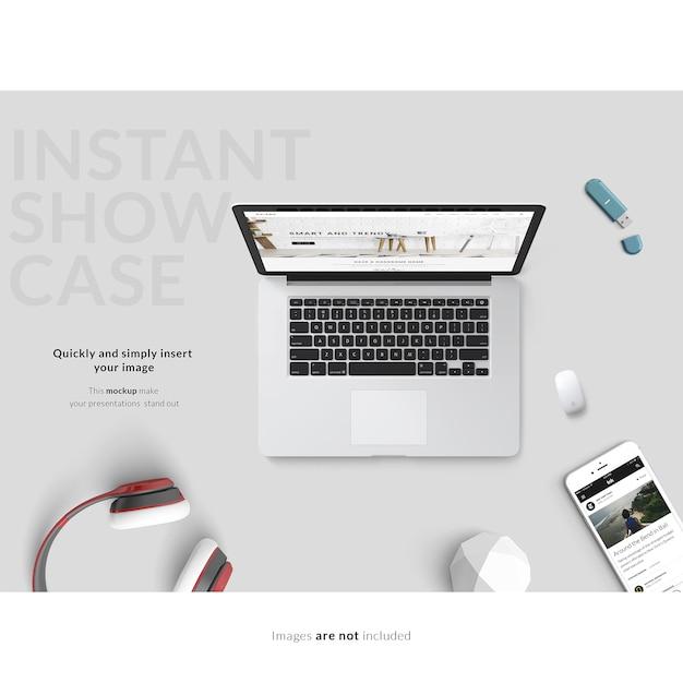 灰色の背景にノートパソコンとスマートフォンがモックアップ 無料 Psd