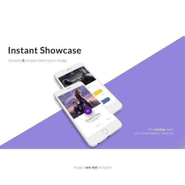 紫と白の背景にスマートフォンがモックアップ 無料 Psd
