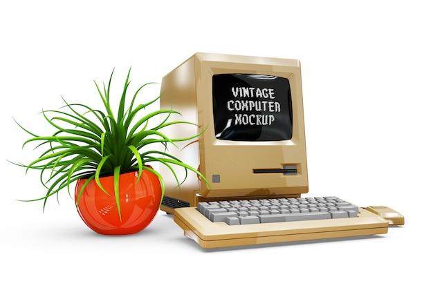 ビンテージコンピューターモックアップ絶縁 無料 Psd