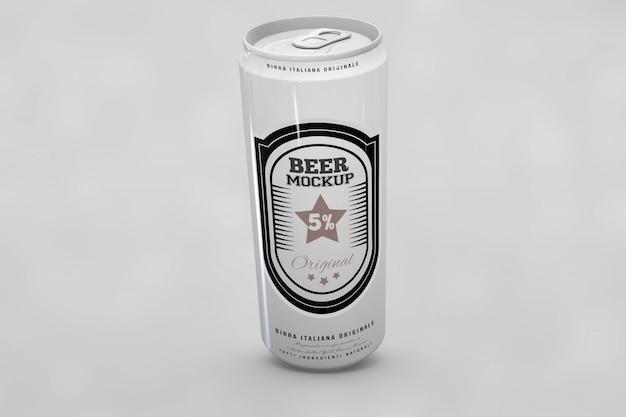 光沢のあるビールはモックアップできます 無料 Psd