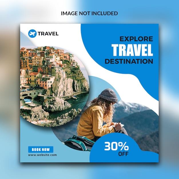 ソーシャルメディアの旅行ポスト Premium Psd