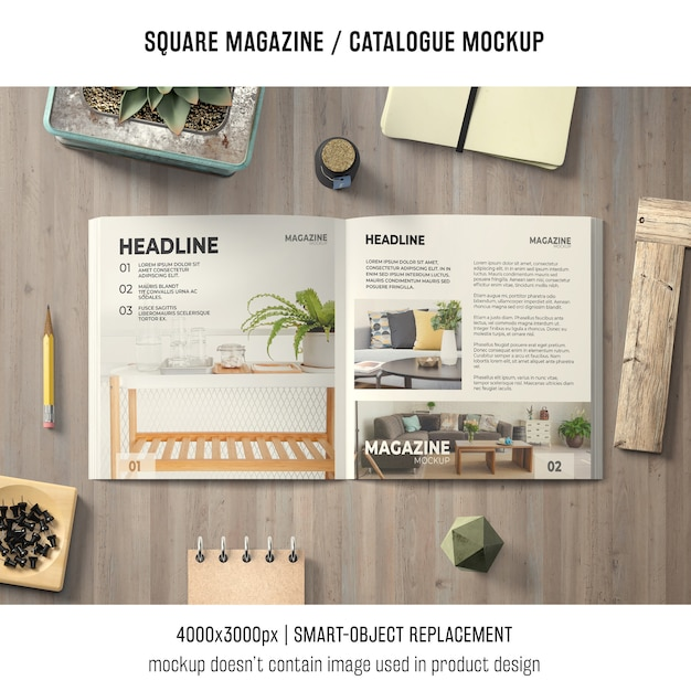 Открытый квадратный журнал или макет каталога Бесплатные Psd