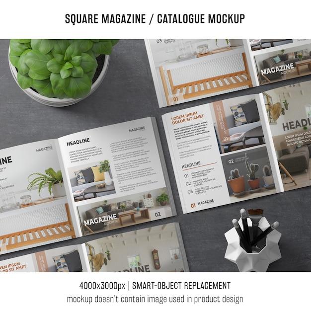 様々な正方形の雑誌やカタログモックアップ 無料 Psd