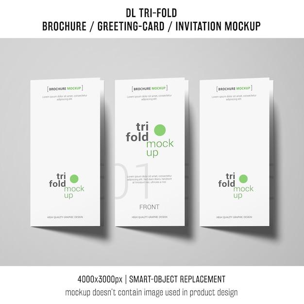 Трехкратная брошюра или макеты приглашений рядом друг с другом Бесплатные Psd