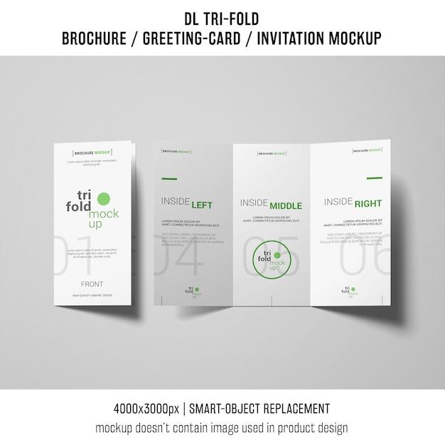 創造的な三つ組のパンフレットまたは招待状の模造 無料 Psd