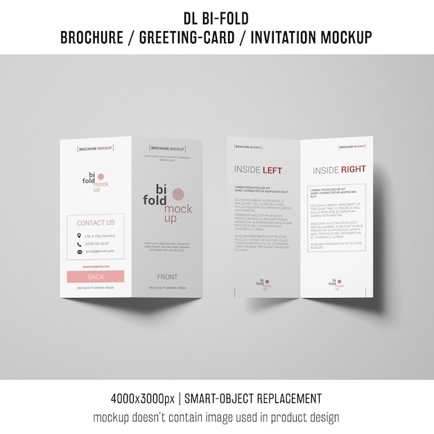二つ折りのパンフレットまたは招待状の模造 無料 Psd