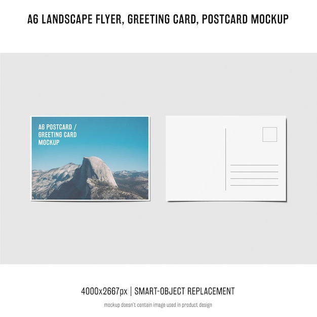 風景チラシ、はがき、グリーティングカードのモックアップ 無料 Psd