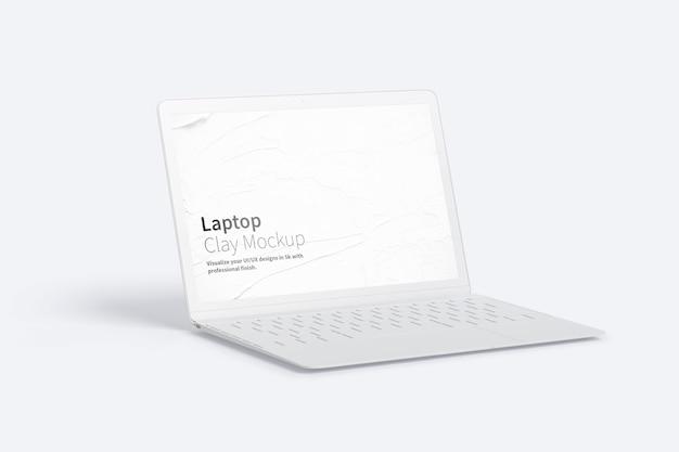 Макет ноутбука с глиной, вид слева Premium Psd