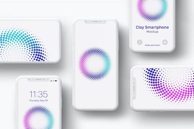 Экран смартфона глиняный макет - композиция Premium Psd