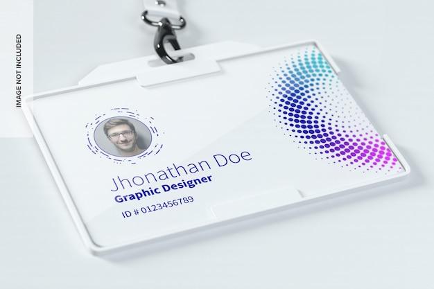 Макет горизонтальной идентификационной карты Premium Psd