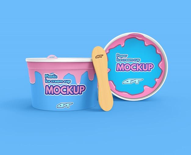 アイスクリームカップモックアップ Premium Psd