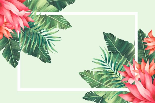 Тропическая цветочная граница с раскрашенными вручную листьями и цветами Бесплатные Psd