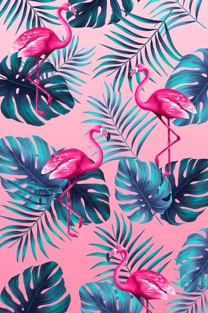 ピンクのフラミンゴと手塗りスタイルで面白いトロピカルプリント 無料 Psd