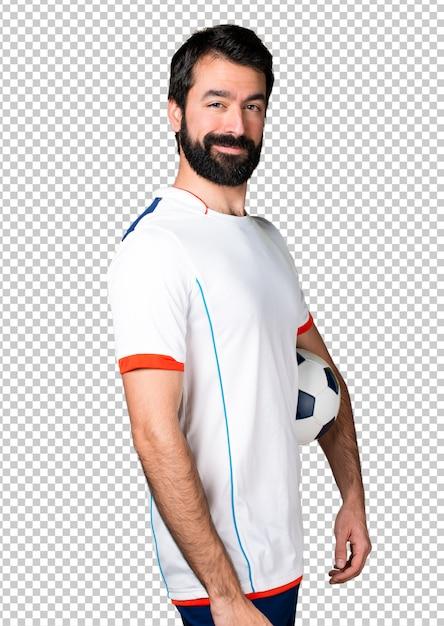ハーフ、サッカー、プレーヤー、サッカー、ボール Premium Psd