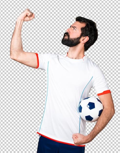 幸運なサッカー選手サッカーボール Premium Psd