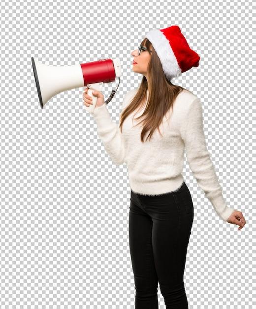 女の子、祝う、クリスマス、祝う、メガホン、声、いくつか Premium Psd