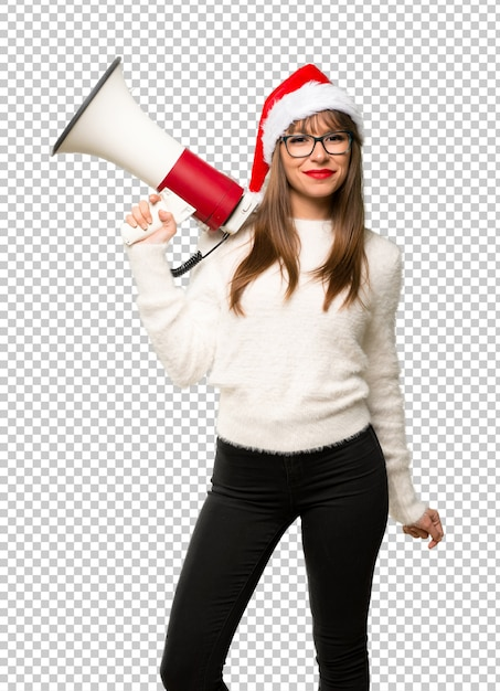 メガホンを持ってクリスマスの休日を祝うと少女 Premium Psd