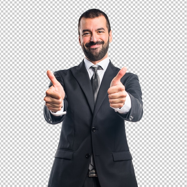 Бизнесмен с пальца вверх Premium Psd